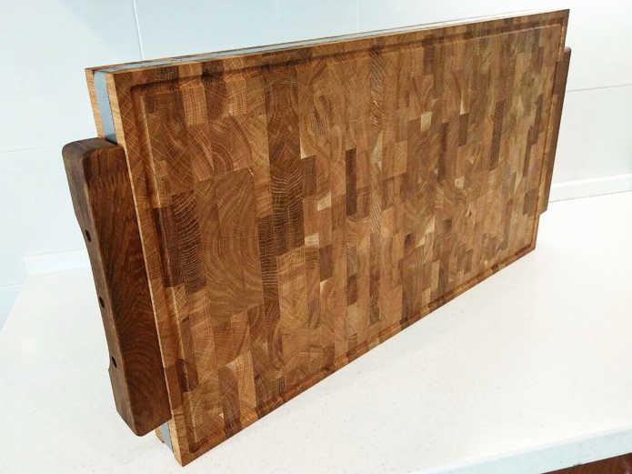 Профессиональная торцевая разделочная доска с окантовкойPure Oak на боку