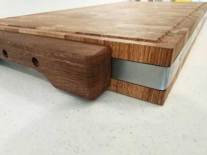 Профессиональная торцевая разделочная доска с окантовкойPure Oak толщина и окантовка
