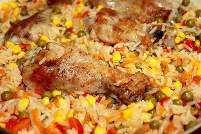 Куриные ножки с рисом и овощами по-каталонски