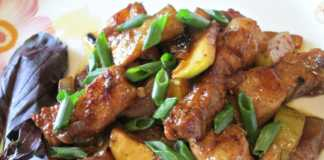 Свинина с кабачками в соевом соусе