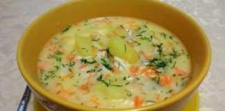 Сырный суп с куриным филе и рисом