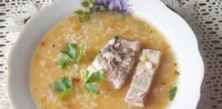 Суп харчо из говяжьей грудинки с черносливом