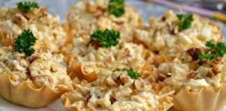 Закусочные тарталетки с куриным салатом