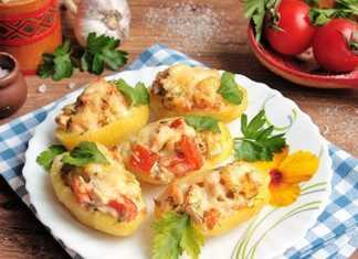Фаршированный картофель с мясом и помидорами